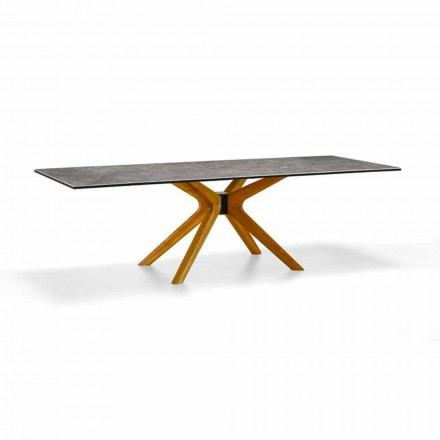 Masă extensibilă Până la 260 cm în gresie și lemn, de lux Made in Italy - Malita