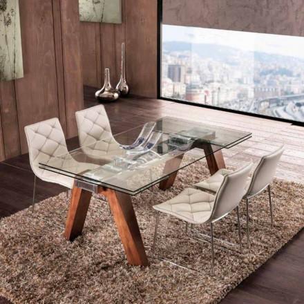 Extinderea masă din lemn masiv si sticla călită Ciad