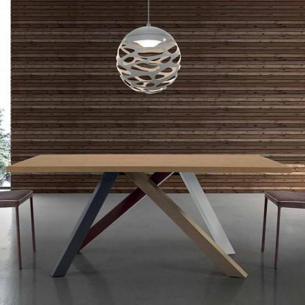 Masă extensibilă modernă cu blat din lemn laminat, fabricată în Italia - Settimmio