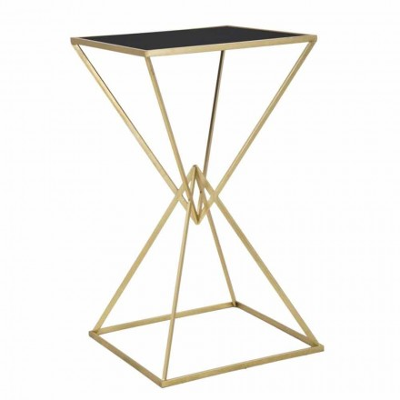 Masă de bară cu design pătrat modern în fier și sticlă - Hily