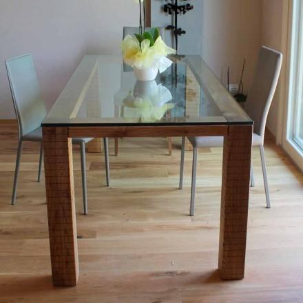 Masă cu blat de cristal și lemn de cenușă Modero Made in Italy - Asella