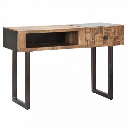 Consolă din lemn de fier și salcâm cu sertar de design - Dena