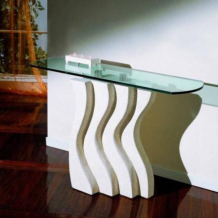 Masă de consolă în Vicenza Piatră și cristal, sculptată manual, Ciril