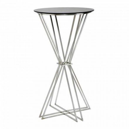 Masă rotundă cu design modern în fier și sticlă - Benita