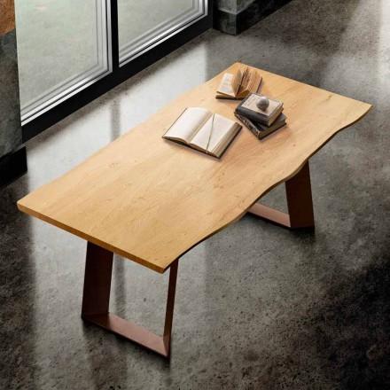 Masă de masă din lemn masiv și metal făcută în Italia, Flora