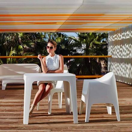 Masa pătrată în aer liber Solid de Vondom din polipropilenă, design modern, 4 piese