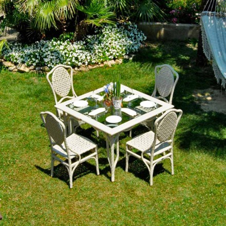 Tabel cu un design de top din sticlă grădină Romeo, realizate manual