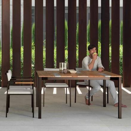Casilda Talenti masă de grădină din lemn și oțel inoxidabil 150x150 cm