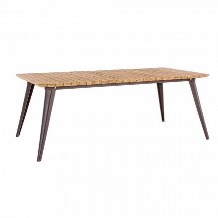 Masă de grădină Top din lemn de tec și bază de aluminiu Homemotion - Amabel