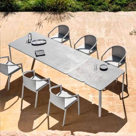 Masă extensibilă pentru exterior, de 318 cm, din aluminiu și gresie - Filomena