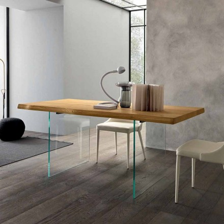 Masă extensibilă de luat masa Până la 280 cm în lemn și sticlă Made in Italy - Focus