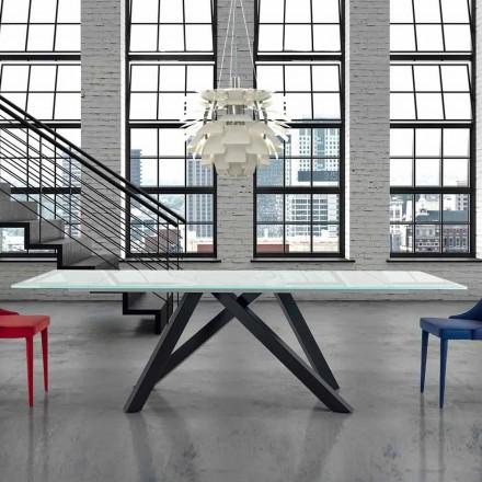 Masă extensibilă de masă din sticlă până la 300 cm Fabricată în Italia - Settimmio