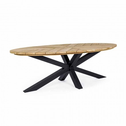 Masă de luat masa în aer liber cu blat oval din tec, Homemotion - Selenia