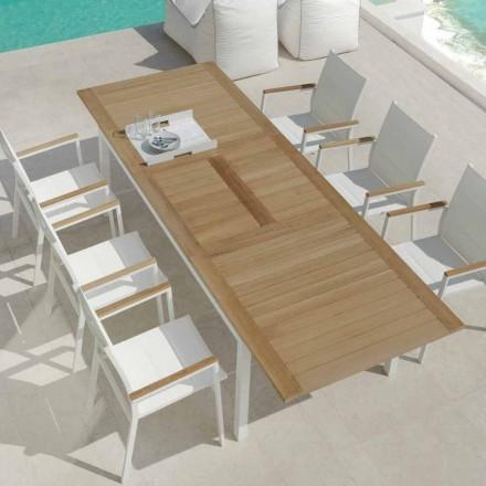 Masa extensibila de gradina din lemn de tec din lemn