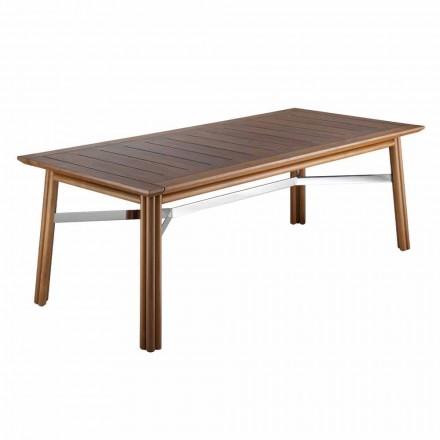 Masă de luat masa de grădină din lemn natural sau negru, lux italian - Suzana