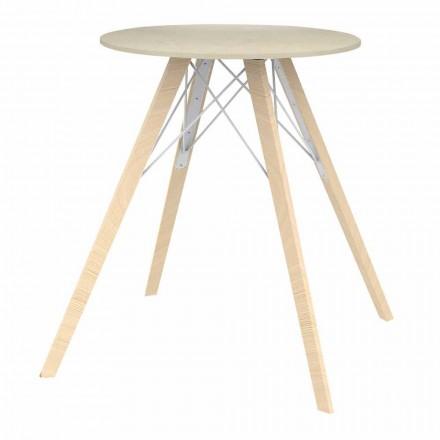 Masă rotundă de masă cu design din lemn și Dekton 4 bucăți - Faz Wood de Vondom