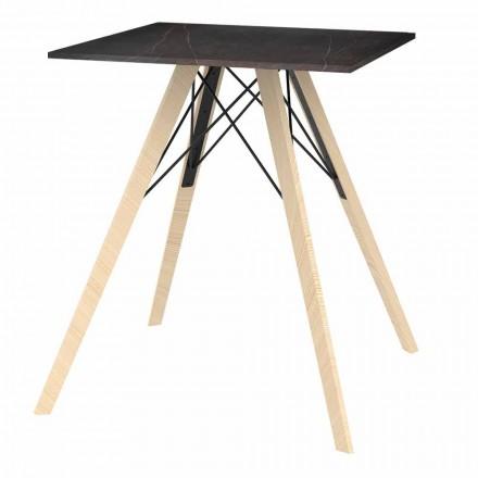 Masă de masă design din lemn și pătrat Dekton 4 bucăți - Faz Wood de Vondom