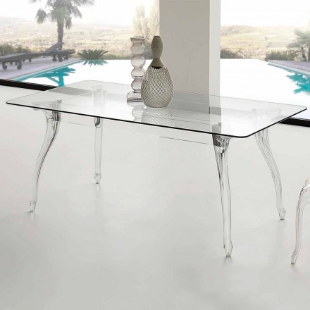 de la masa de design modern, sufragerie cu călită de top din sticlă Jinny
