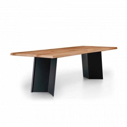 Masă de luat masa de design cu blat de stejar înnodat Made in Italy - Simeone