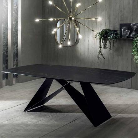 Masă de masă de design în ceramică Portoro Effect și metal mat - Falcon