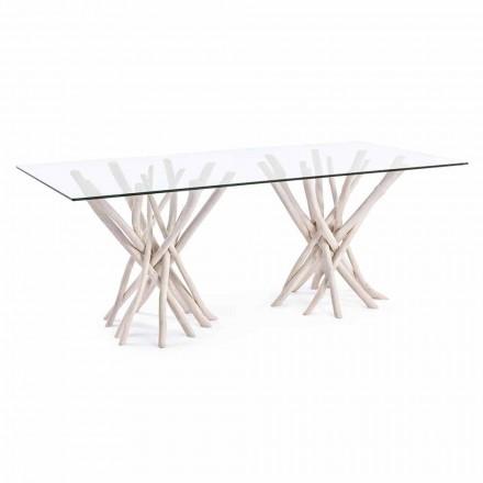 Masă de masă design din sticlă și Teak decolorat Homemotion - Franța