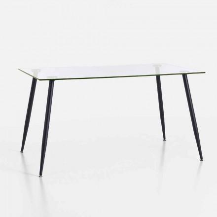 Masă de luat masa de design modern din sticlă temperată și metal negru - Foulard