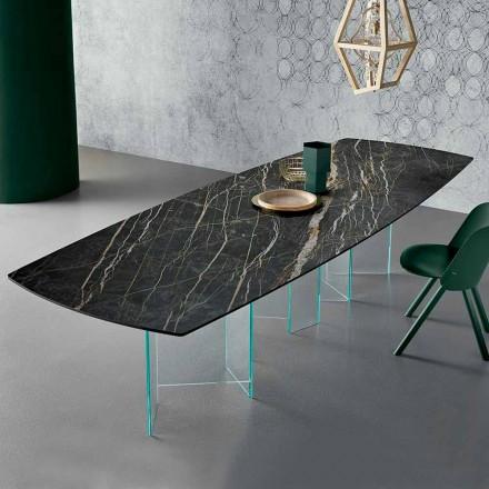 Masă din sufragerie din ceramică și bază din sticlă extralight fabricată în Italia - la întâmplare