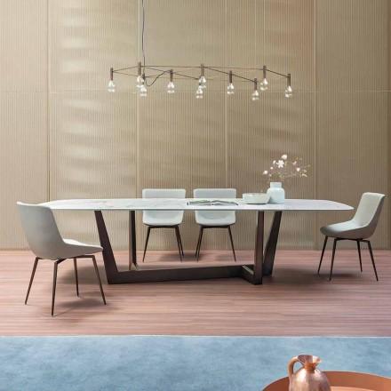Masă de luat masa din ceramică și metal din bronz, fabricată în Italia - art