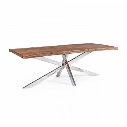 Masă de luat masa Homemotion Design din lemn și oțel inoxidabil - Kaily