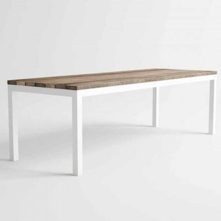 Masă de sufragerie din lemn și aluminiu de design modern - Ganges