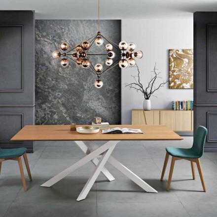 Masă de masă modernă din lemn și metal MDF din Italia, Dionigi