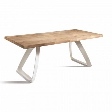 Masă de luat masa din metal și stejar furniruit fabricat în Italia - Aryssa
