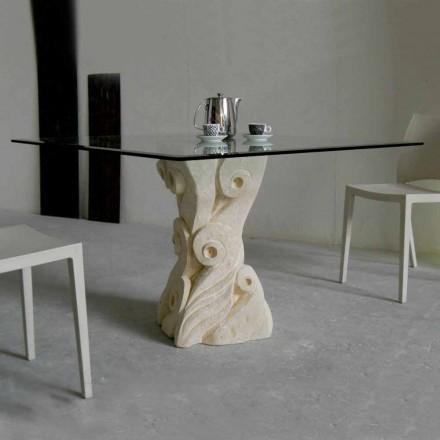masă de piatră, cu un design de top de sticlă GIASONE
