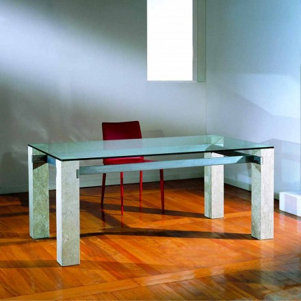 masă de piatră și sticlă moderne de design EBEA