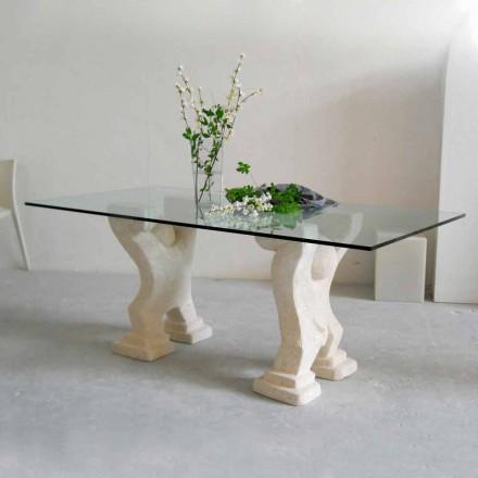 masă de piatră și de cristal design modern Medusa