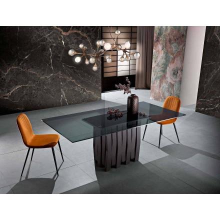 Masă de masă din sticlă și lemn masiv fabricată în Italia, Egisto