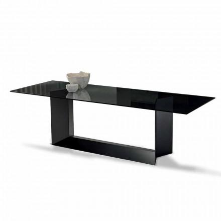 Masă de luat masa din sticlă afumată sau extralight și metal fabricat în Italia - Moro