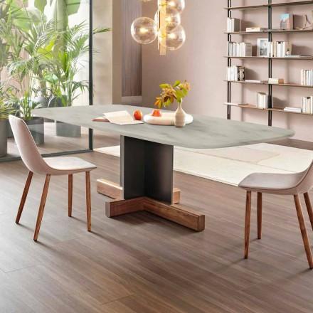 Masă de sufragerie modernă cu blat din marmură Made in Italy - Masă Bonaldo Cross