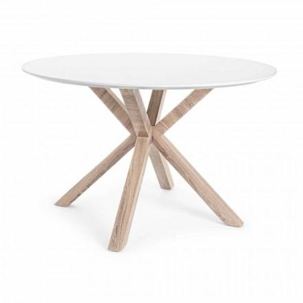 Masă de luat masa modernă cu blat rotund în alb MDF Homemotion - Vento
