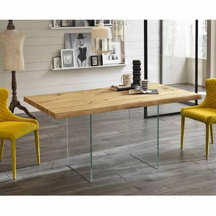 masă modernă în furnir de stejar, picioare de sticla Nico
