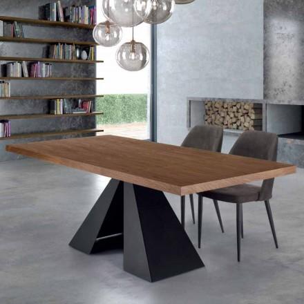 Masă modernă de masă din lemn furnir și oțel fabricat în Italia - Dalmata
