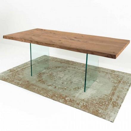 Masă modernă de masă din lemn și sticlă furniră din Italia - Strappo