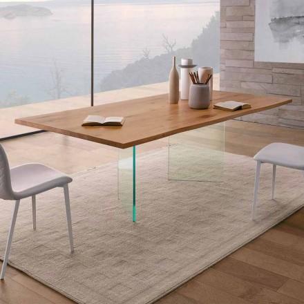 Masă de masă din stejar înnodat și sticlă de înaltă calitate, fabricată în Italia - Sibillo