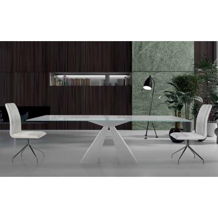 Masă modernă de masă din oțel alb și sticlă fabricată în Italia - Dalmata
