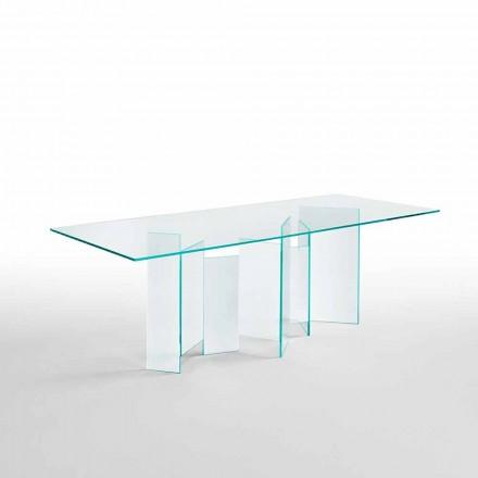 Masă modernă din sufragerie din sticlă extracolară sau afumată fabricată în Italia - aleatoriu