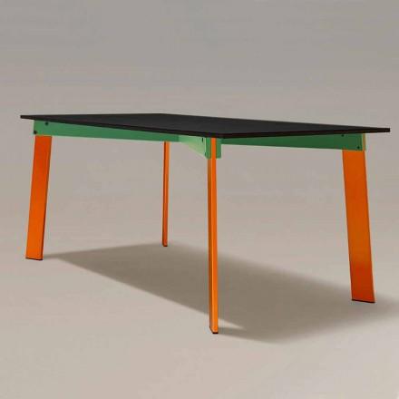 Masă de mese modernă Blat din lemn și bază din oțel Fabricat în Italia - Aronte