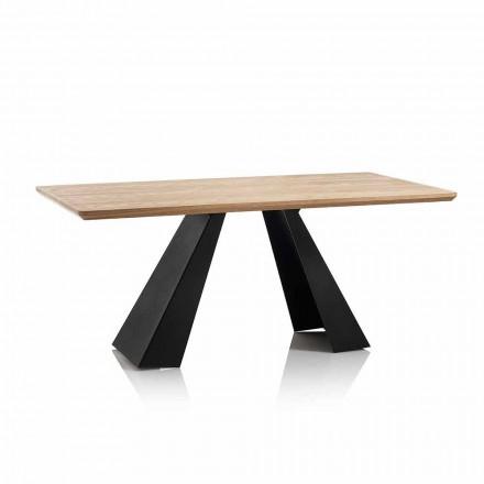 Masă de luat masa dreptunghiulară modernă cu blat în stejar de culoare Mdf - Volo