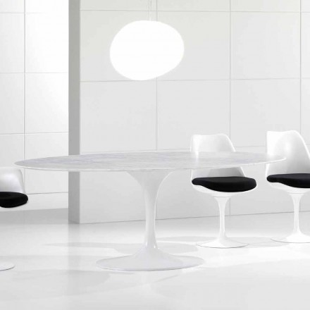 Masă de luat masa de ovală de lux, blat de marmură Carrara, fabricat în Italia - Nerone