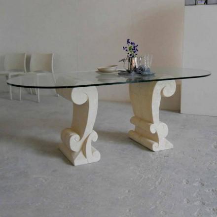 masă ovală din piatră și design clasic Arachne cristal