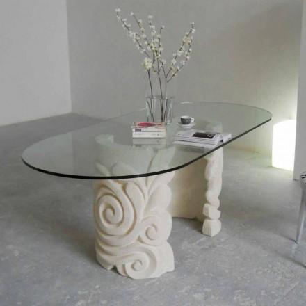 masă ovală din piatră și cristal design modern Aden